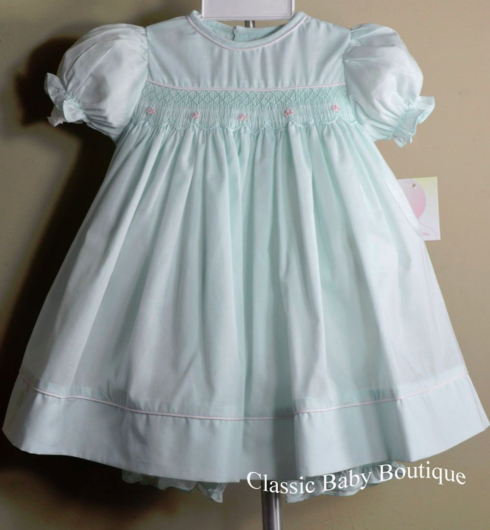 NWT Petit Ami Mint Green Smocked Lace Baby Girls Dress Bloomers 3 6 9 Months
