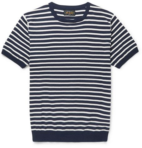 Beams Plus Striped Knitted Cotton T-Shirt | MR PORTER