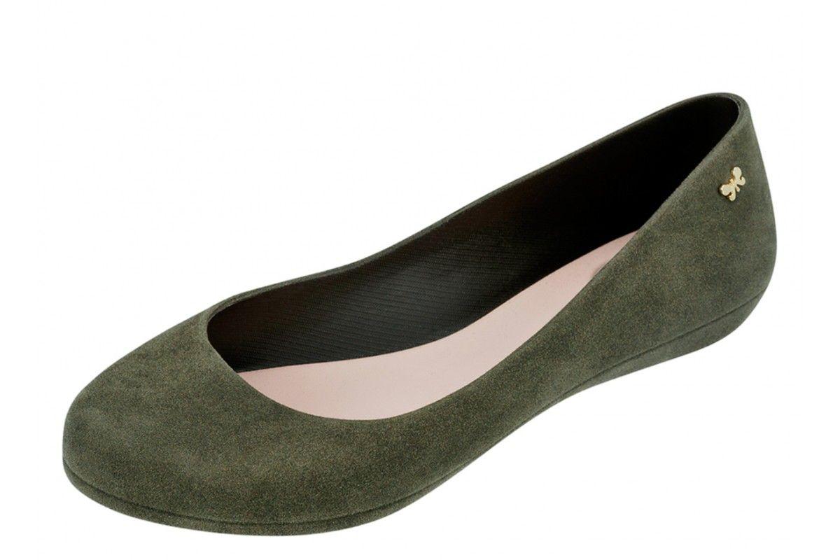 92a166d6b67 Zaxy Pop Flock Fem Olive Green Women's Flat Ballet Shoes   Autumn ...