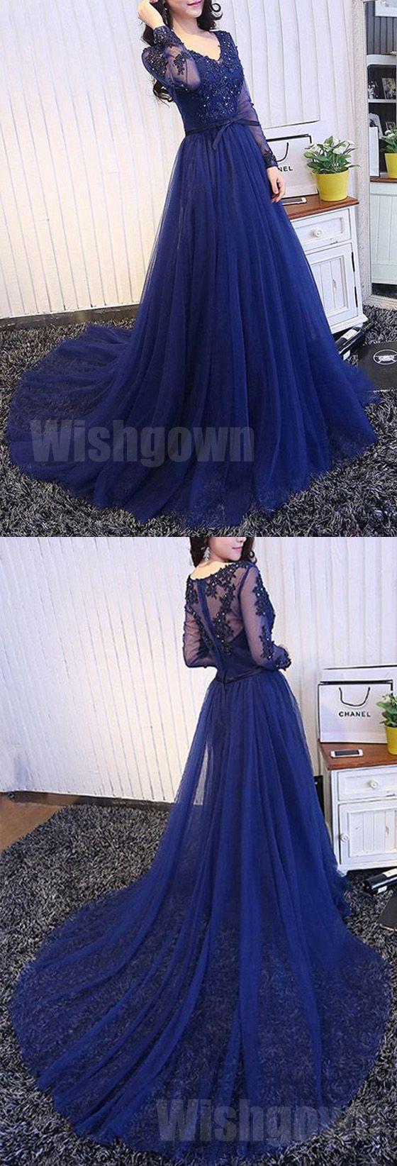Royal blue long sleeves tulle elegant cheap long prom dresses