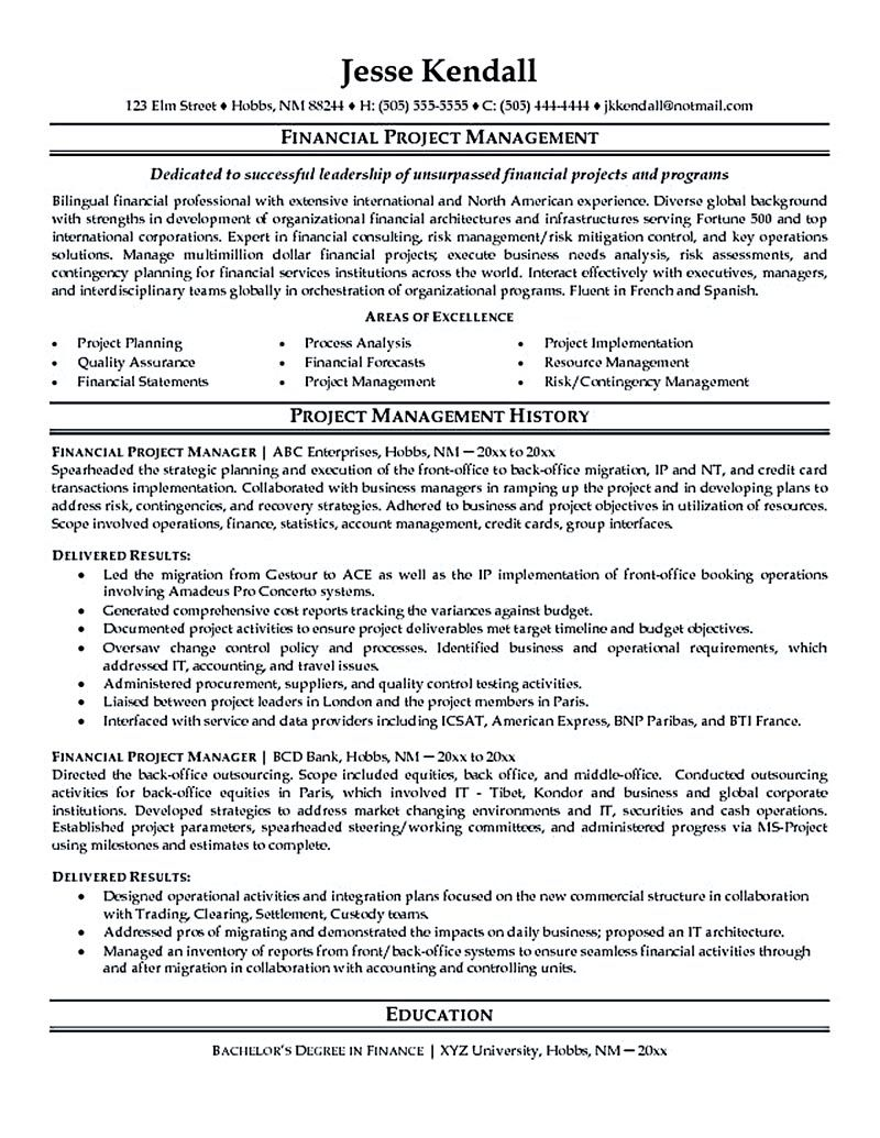 project manager resume - Sample Project Manager Resumes