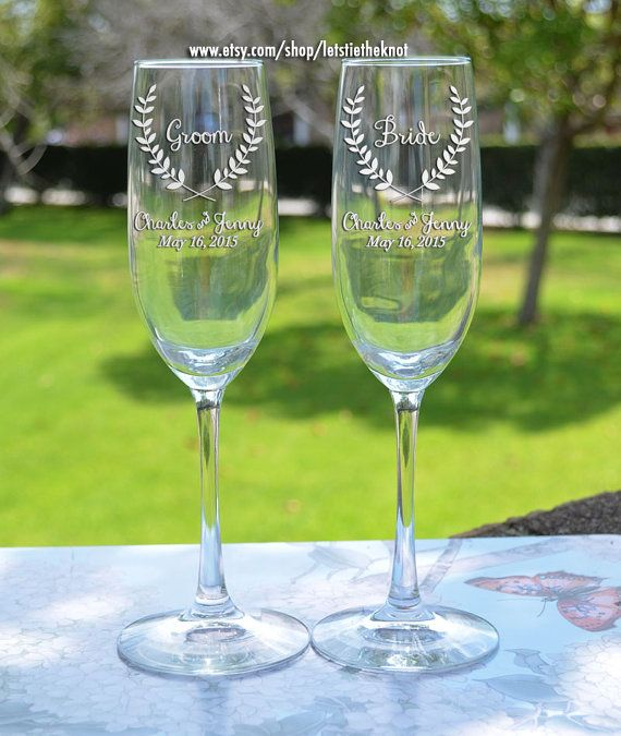 Custom Personalised Flute Glass Disney Font Prosecco Champagne Wine Bride Groom