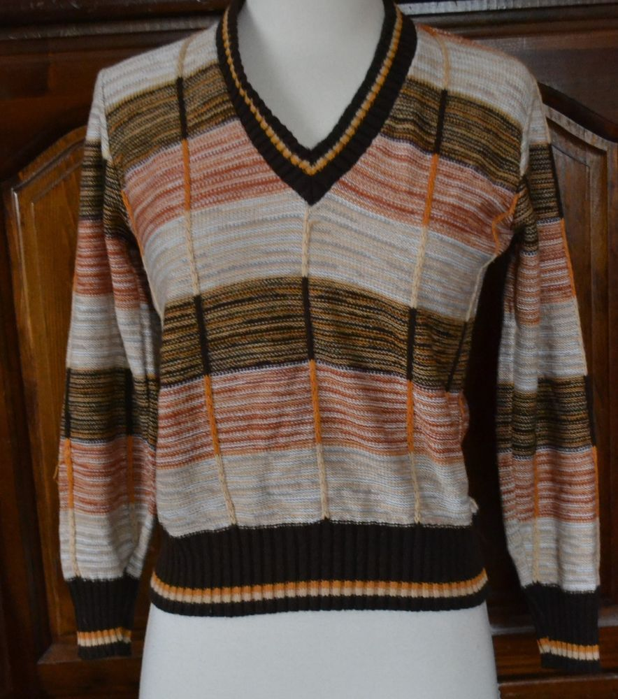 854768b1f10ec1 VINTAGE 70 S MULTI COLOR STRIPED ACRYLIC SWEATER BY LISA LINN SIZE S   fashion  clothing