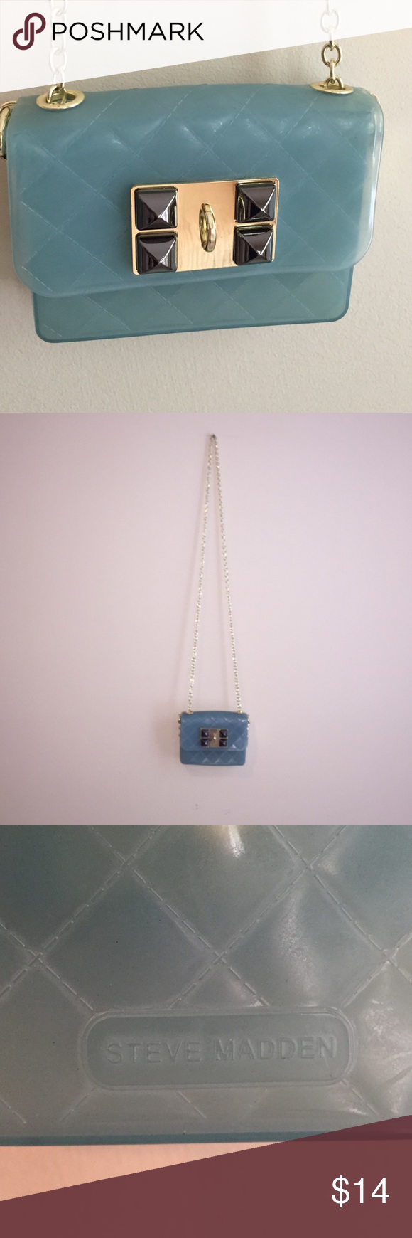 Steve Madden Mini Purse Steve Madden Mini Purse in opaque light greenish blue. Magnetic closing with fun embellishments. In great condition. Steve Madden Bags Mini Bags