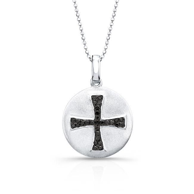 Sterling Disk Pendant with Black Diamond Cross