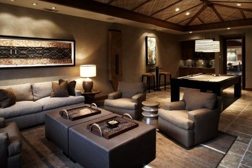 Great Family Game Room Pool Table Comfortable Chairs And Couch Glamorous Pool Table Living Room Design Design Inspiration