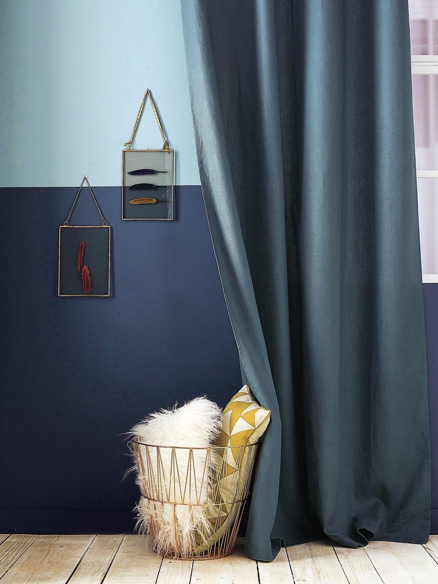 chambre bleue nuit super tendance 100 bleu en 2019 deco chambre bleu rideaux lin et. Black Bedroom Furniture Sets. Home Design Ideas
