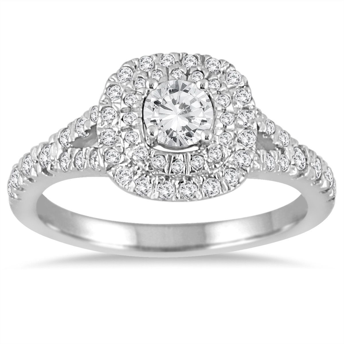 Marquee Jewels 3/4 Carat Diamond Double Halo Engagement Ring in 14K Gold