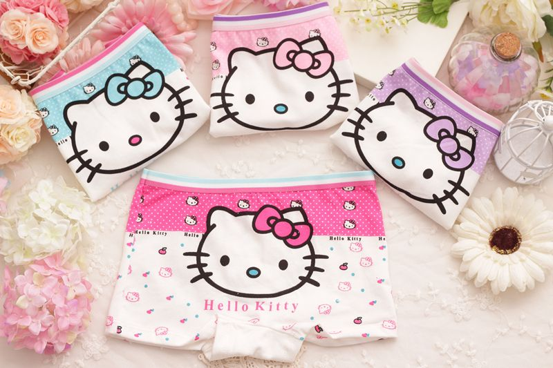 76c47f871 4pcs/Lot Children Girls Hello Kitty Underwear Kids Fashion Character Boxer  Brief Infant Baby Girl Panties ropa interior ninos //Price: $20.82 & FREE  ...