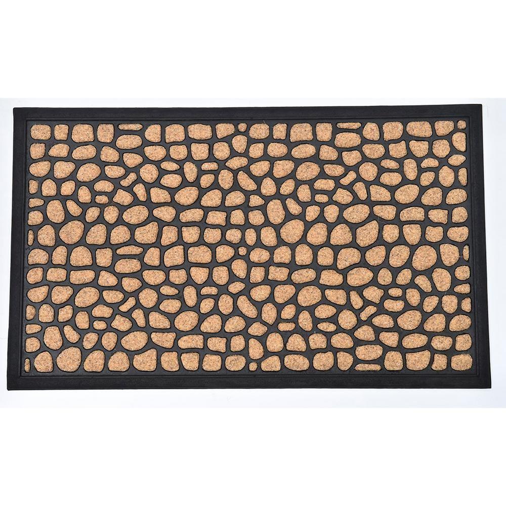 Evideco 16 In X 24 In Sheltered Front Door Mat Round Stone Polyester Brown Black Door Mat Front Door Mats Front Door