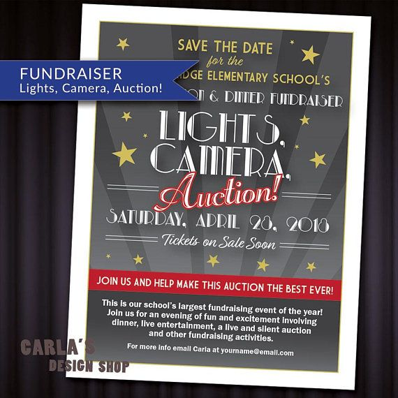 Lights Camera Auction Movie And Cinema Theme Printable Invitation