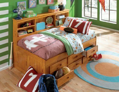 Twin Daybed Bookcase with 6 Drawers Entertainment Dresser in Honey