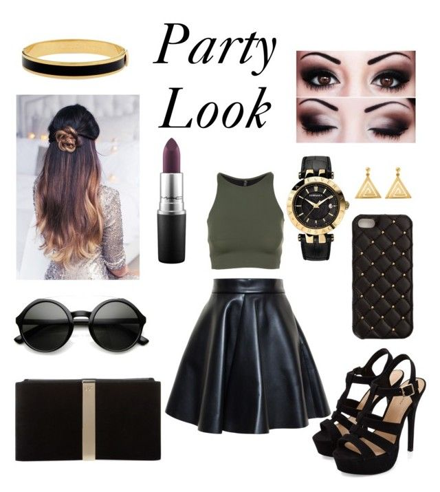 """""""Party Look """" by sweetypie21 ❤ liked on Polyvore featuring Onzie, MSGM, Roger Vivier, 2Me Style, Versace, ChloBo, MAC Cosmetics and Halcyon Days"""