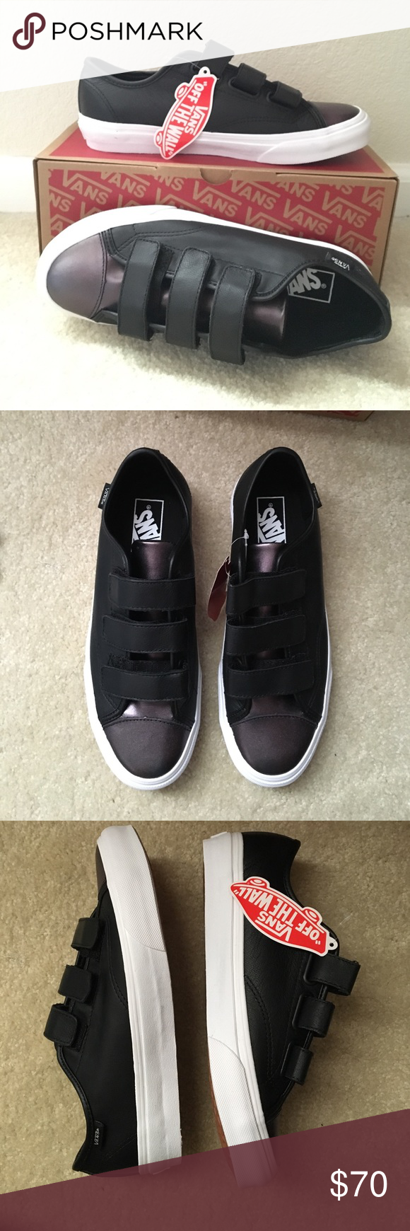 Vans Gunmetal Velcro Sneakers Black and gunmetal Velcro Vans sneakers. Never worn. New with tags. W size 8.5. Has a shimmery detail. Comes with original box. Vans Shoes Sneakers