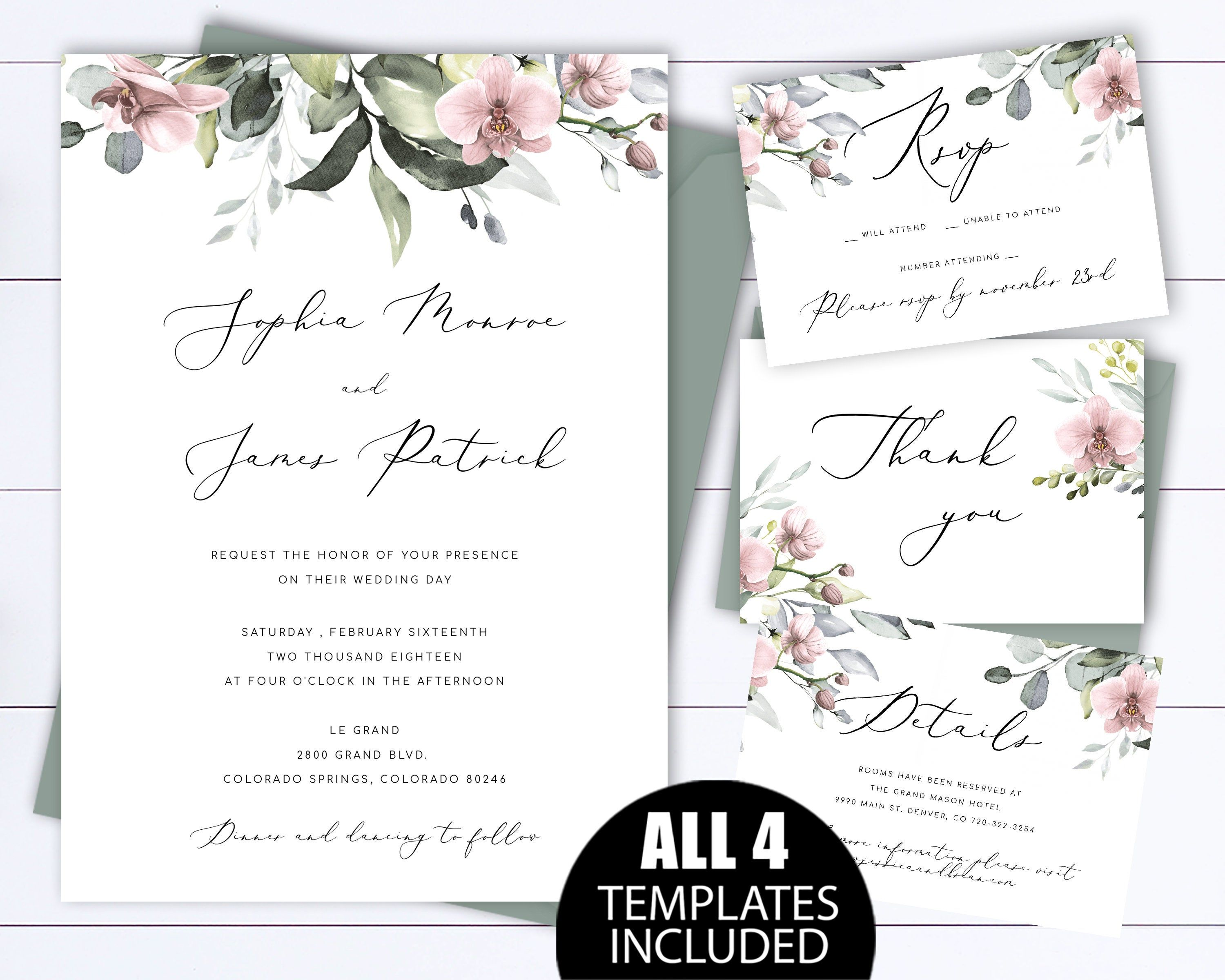 Blush Orchid Floral Wedding Invitation Templates Orchid  Etsy