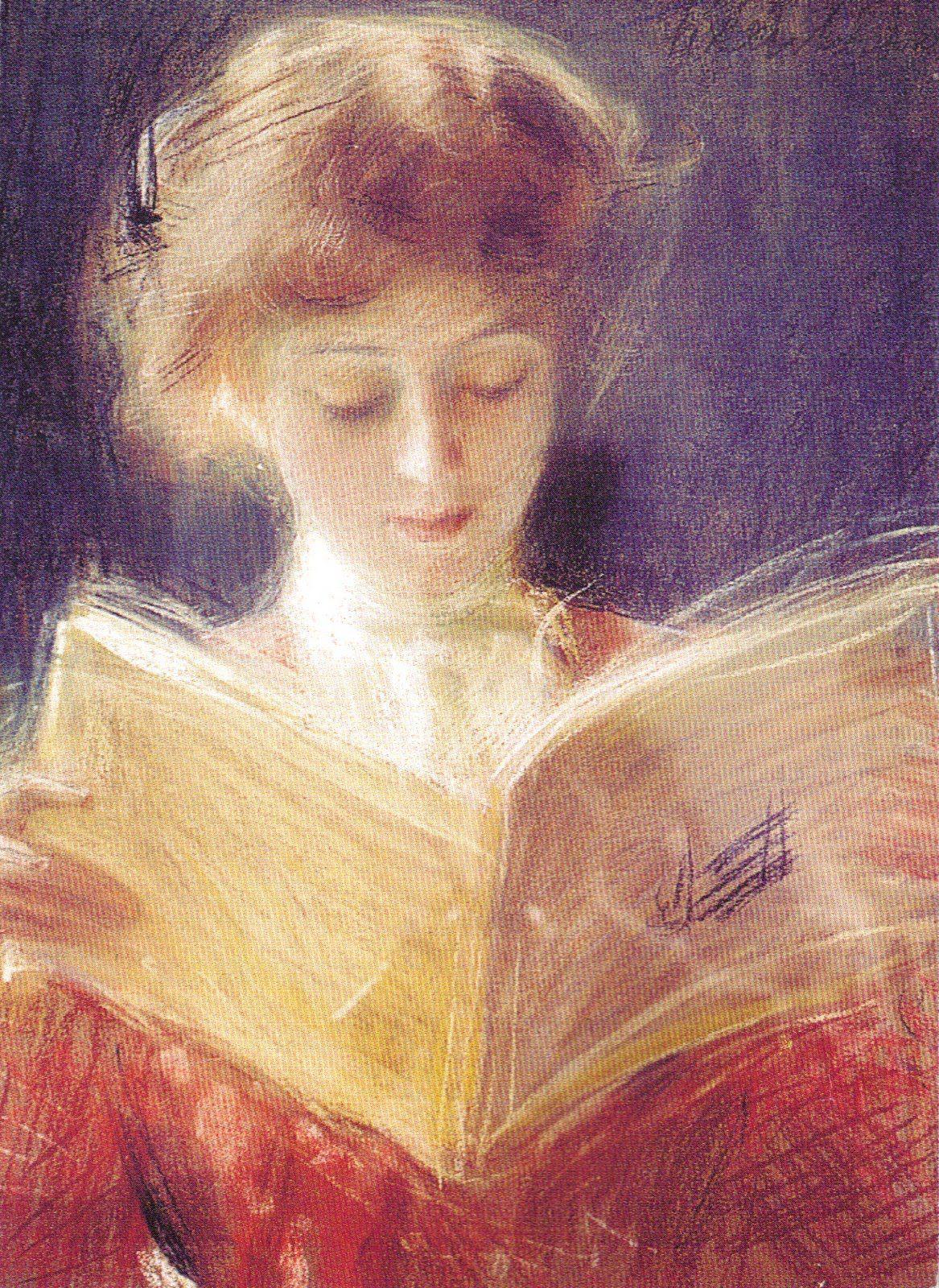 """Woman Reading"" by Teodor Axentowicz (Polish,1859–1938); pastel, 64x40,  Silesian Museum, Katowice."
