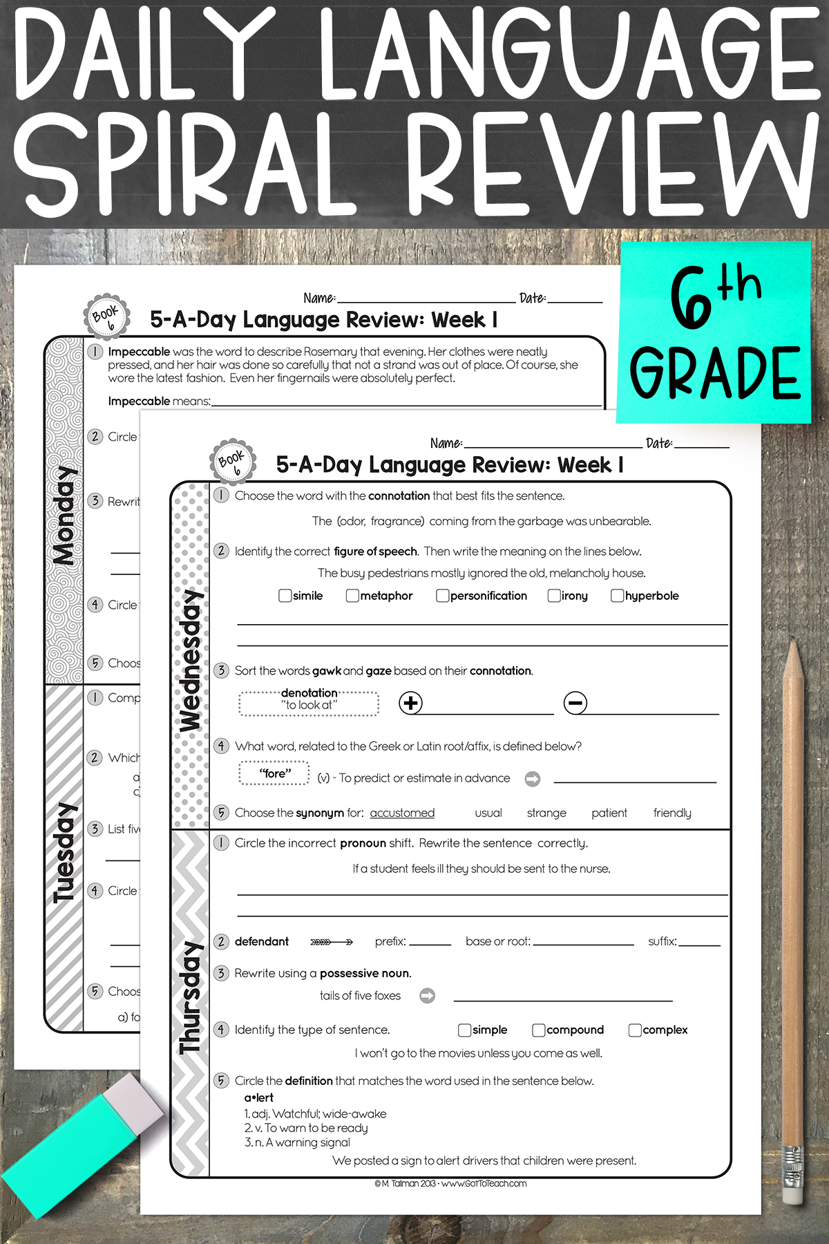 FREE 6th Grade Daily Language Spiral Review • Teacher Thrive   Teaching 6th  grade [ 1800 x 1200 Pixel ]