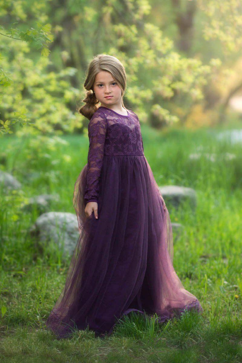 39 isabelle dark purple long sleeve open back bow tulle