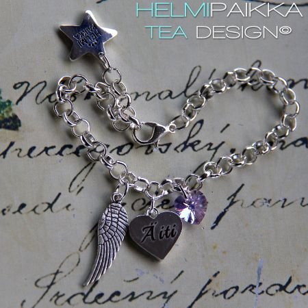 Amulettirannekoru enkelinsiipi Äiti tekstisydän amuletilla ja laventelilla Swarovskin kristallilla <3