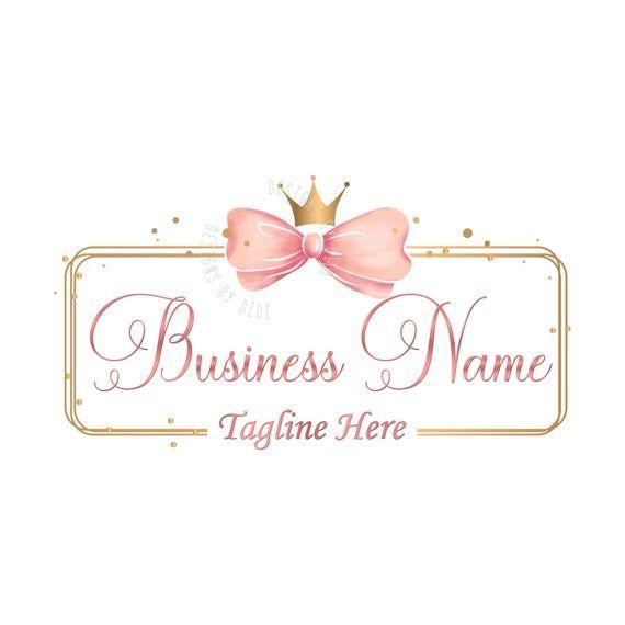 Custom logo design gold pink bow logo bow crown gold