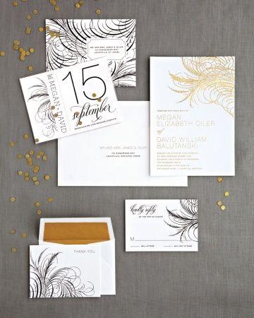 Feathery and festive wedding stationery
