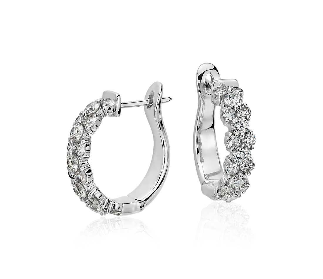 Garland Hoop Diamond Earrings in 18k White Gold (2 ct. tw ...