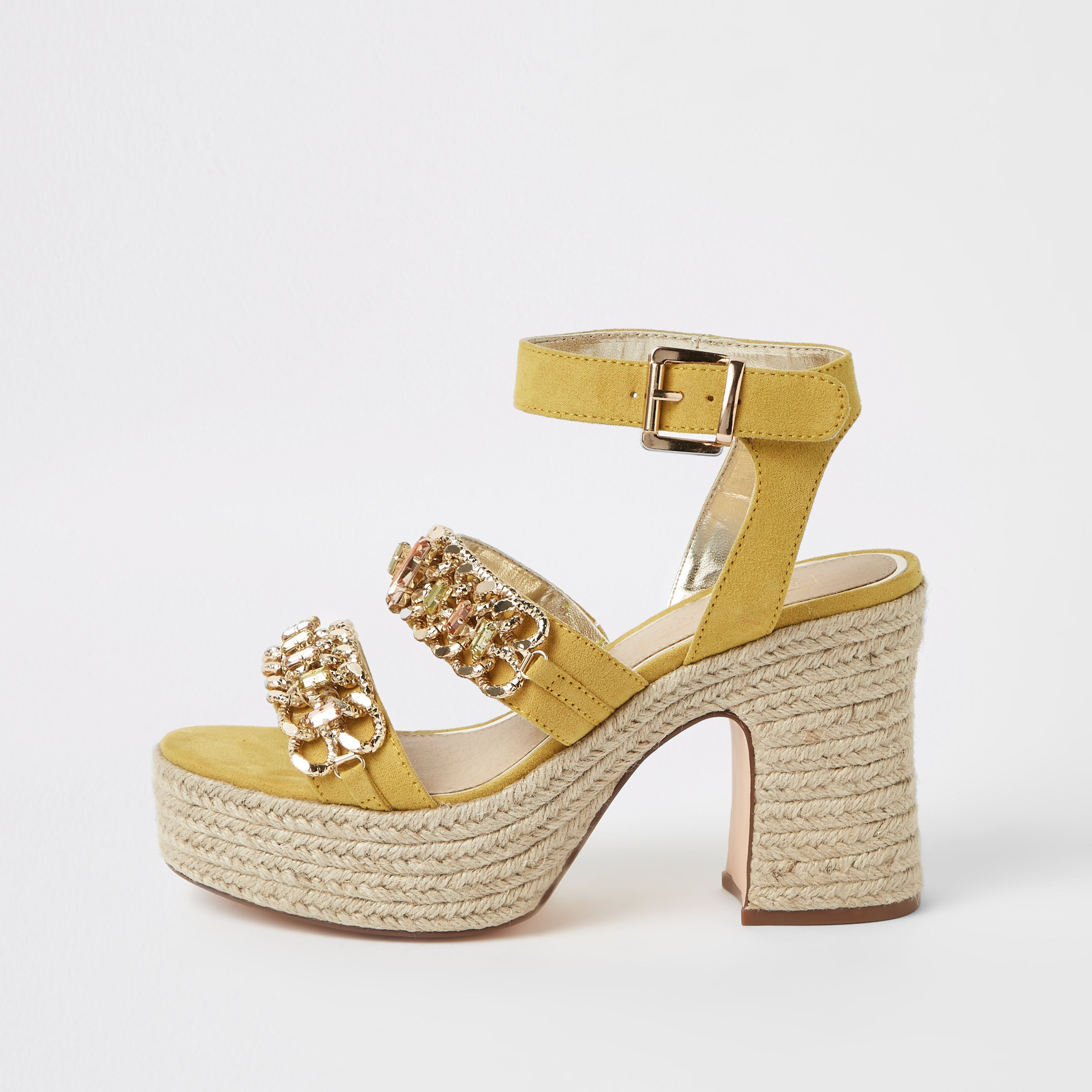 cd13cc76e5 Womens Yellow chain espadrille block heel sandals in 2019 | Products ...