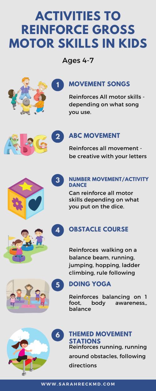 Activities To Reinforce Gross Motor Skills In 4 7 Year Olds Gross Motor Activities Gross Motor Skills Fine Motor Skills Activities