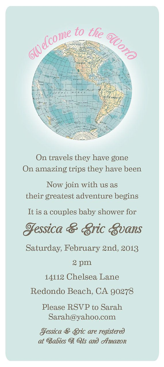 Welcome to the World Baby Shower Invitation and by tickledplum ...