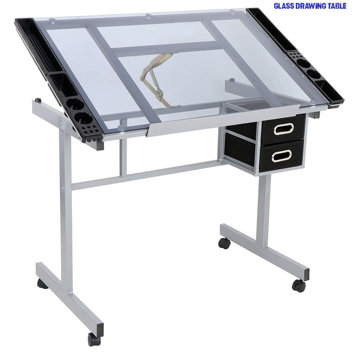 Adjustable Drafting Table Drawing Desk Craft Station Art Craft Glass Top W// 2 /&