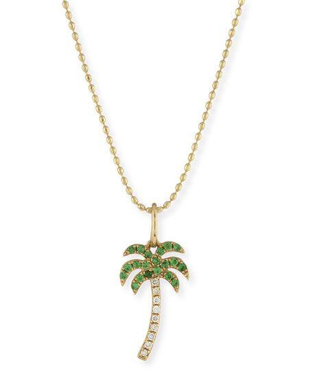 Sydney evan pav diamond green garnet palm tree charm necklace sydney evan pav diamond green garnet palm tree charm necklace aloadofball Image collections