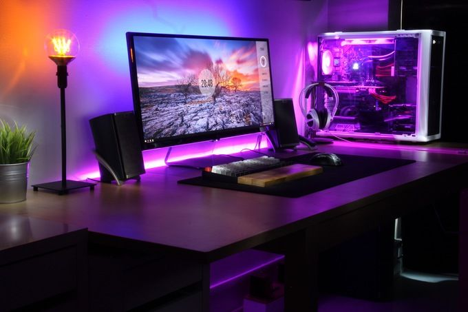 converted dining table into a desk pc setup gaming setup rh pinterest com