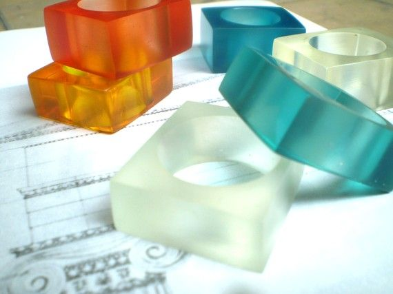 Custom resin rings from Mexico. Dikua.