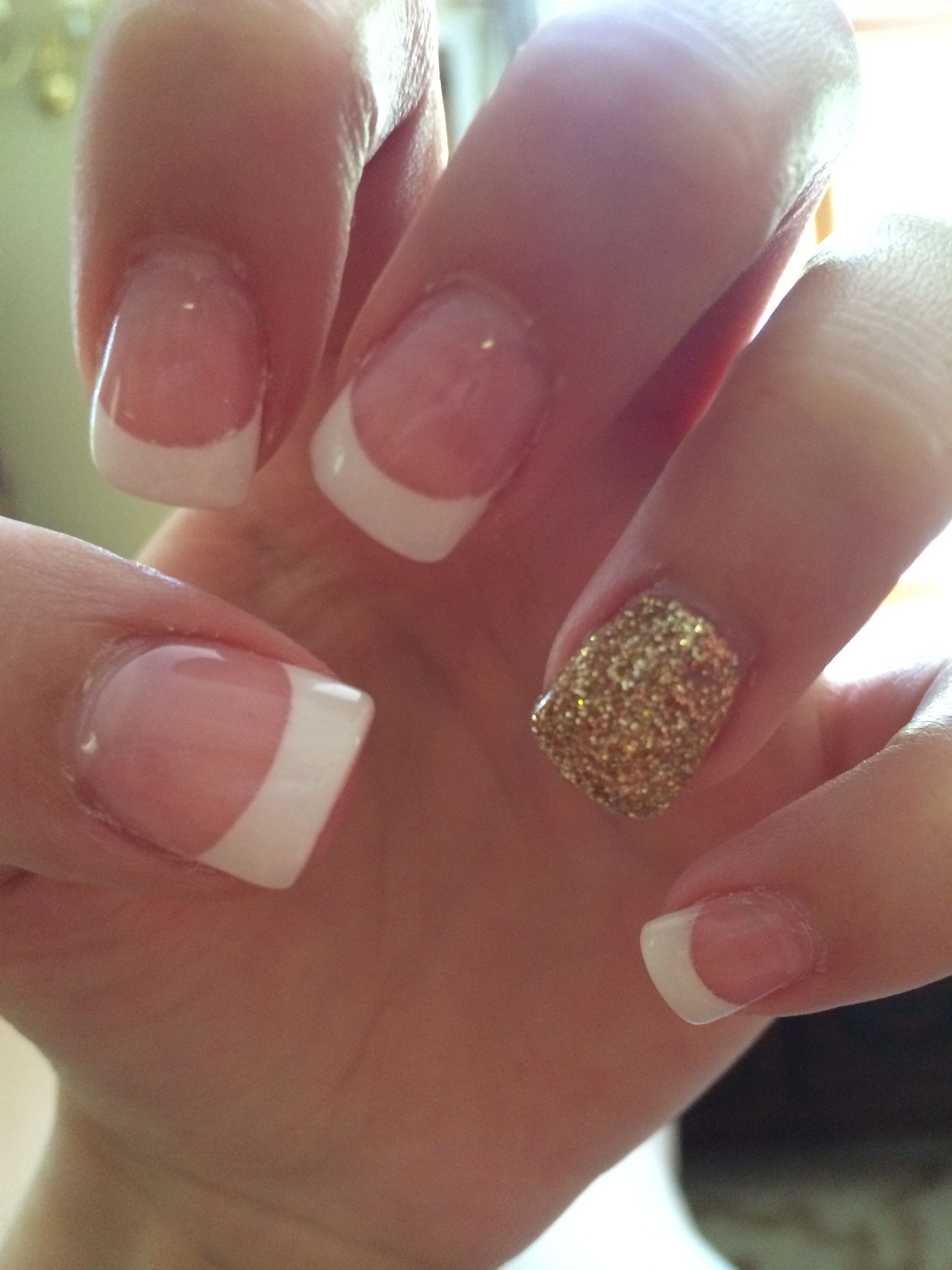 Prom Nails French Manicure With Gold Glitter Ring Finger