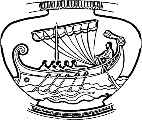 Vase With Ship Ornament Coloring Page Ancient Greek Art Coloring Pages Egyptian Drawings