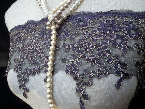 "USA Supplier 1, 3, 5 Yards of 6.25"" Wide Gray Grey Appliqued Wedding Bridal Alencon Tulle Lace Gold Metallic Cord Embroidery XRC LA"