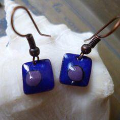 Boucles d'oreilles rustique - émail sur cuivre