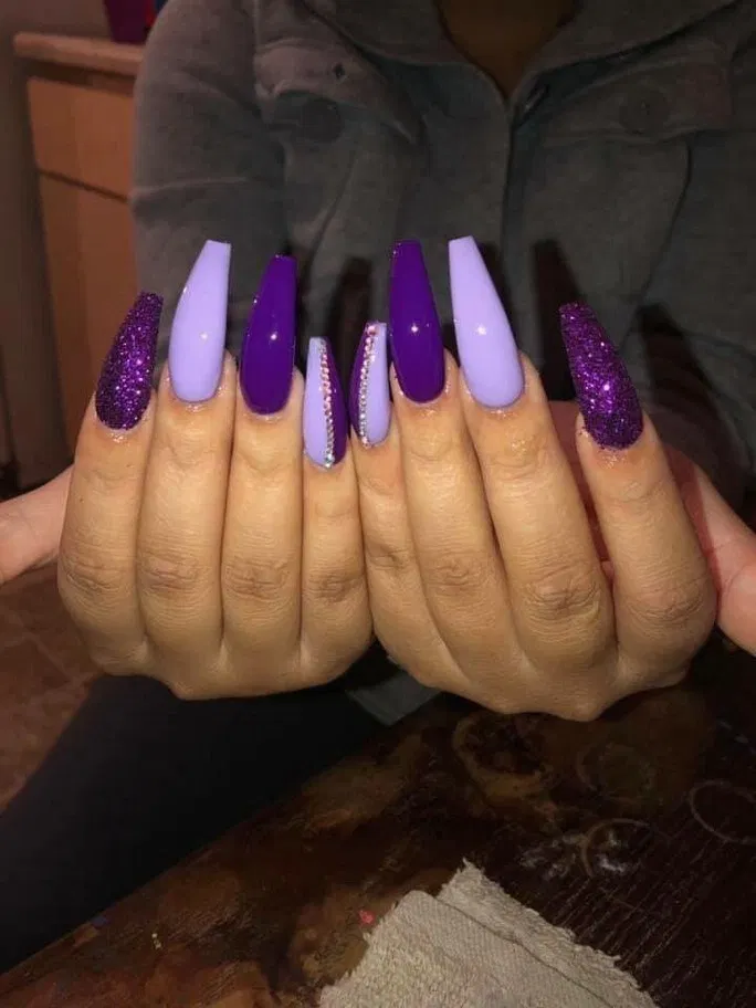 132 Fantastic Long Nails Art Style For Teenage Girls In 2020 Purple Acrylic Nails Purple Nails Purple Nail Designs