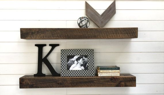 Floating Shelves Set Of Two Modern Rustic Floating Shelves Etsy Rustic Floating Shelves Floating Shelves Modern Shelving