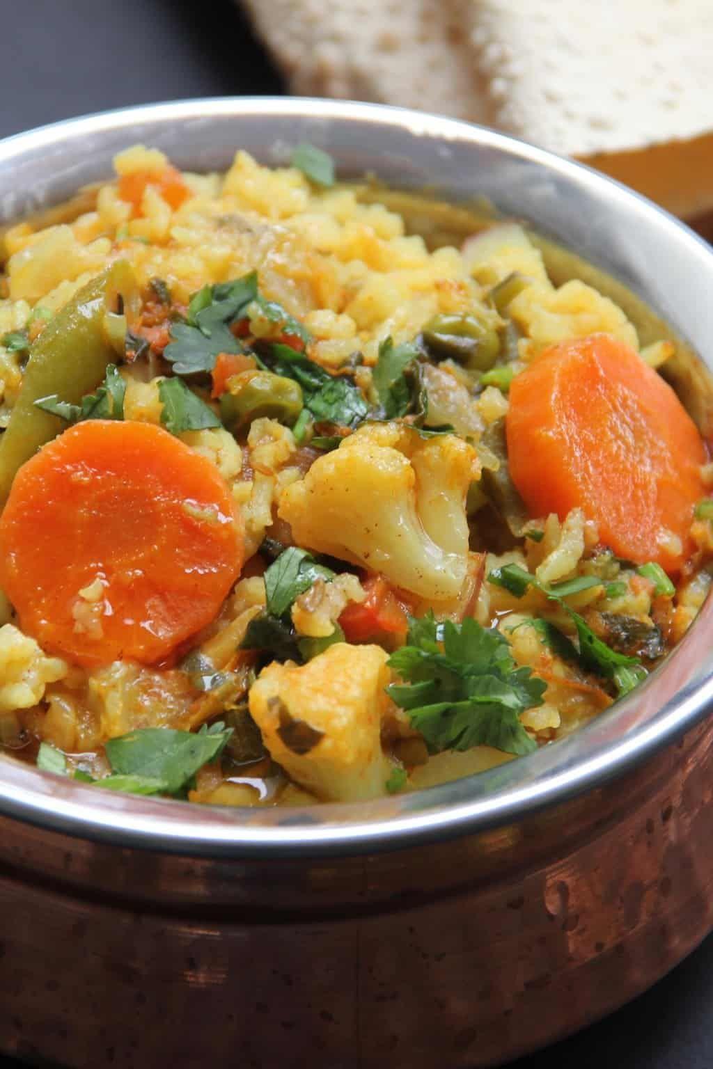 Mixed Lentils Vegetables Khichdi Instant Pot Recipe Indian