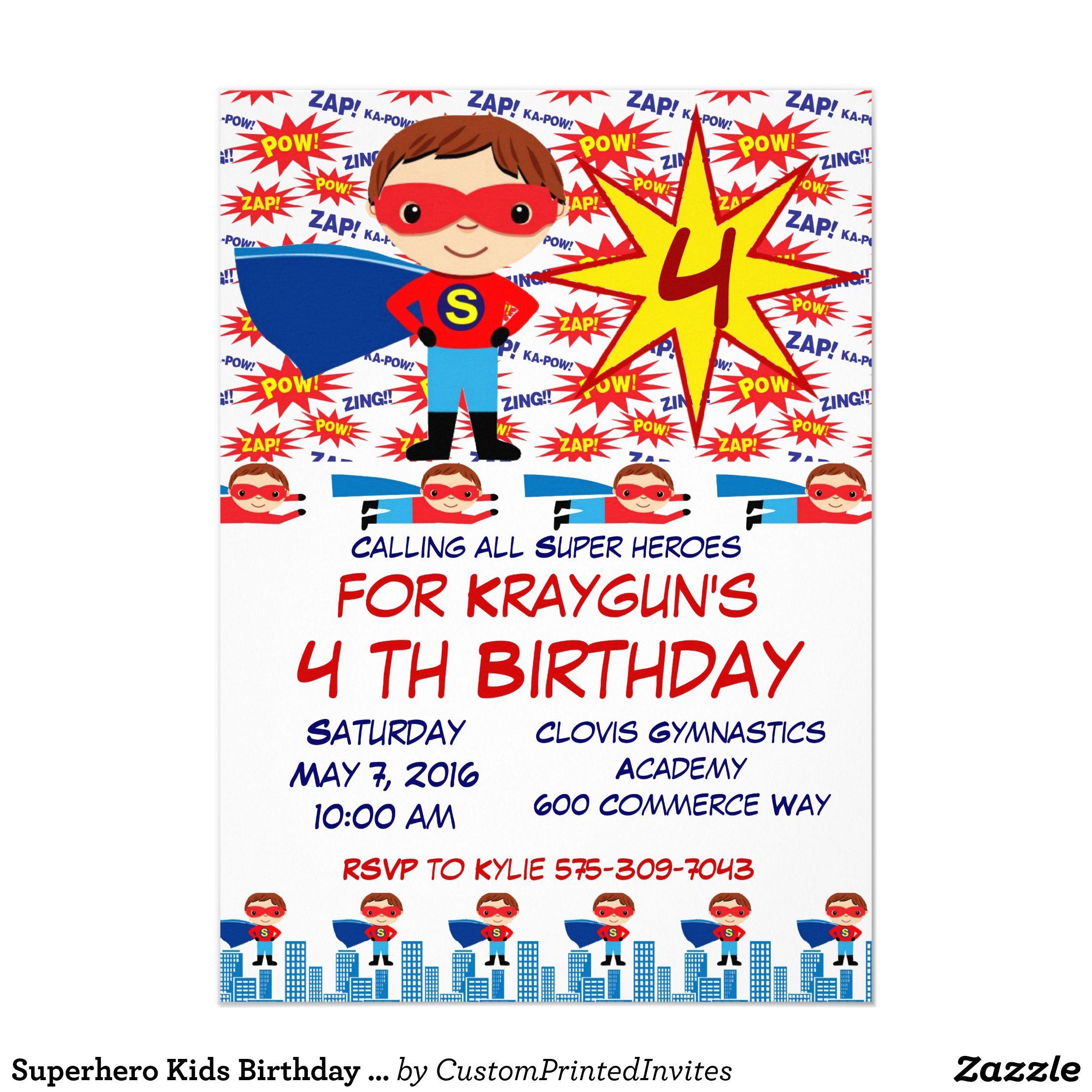 Superhero Kids Birthday Party Invitations For Boys Zazzle Com Kids Birthday Party Invitations Kids Birthday Birthday Party Invitations