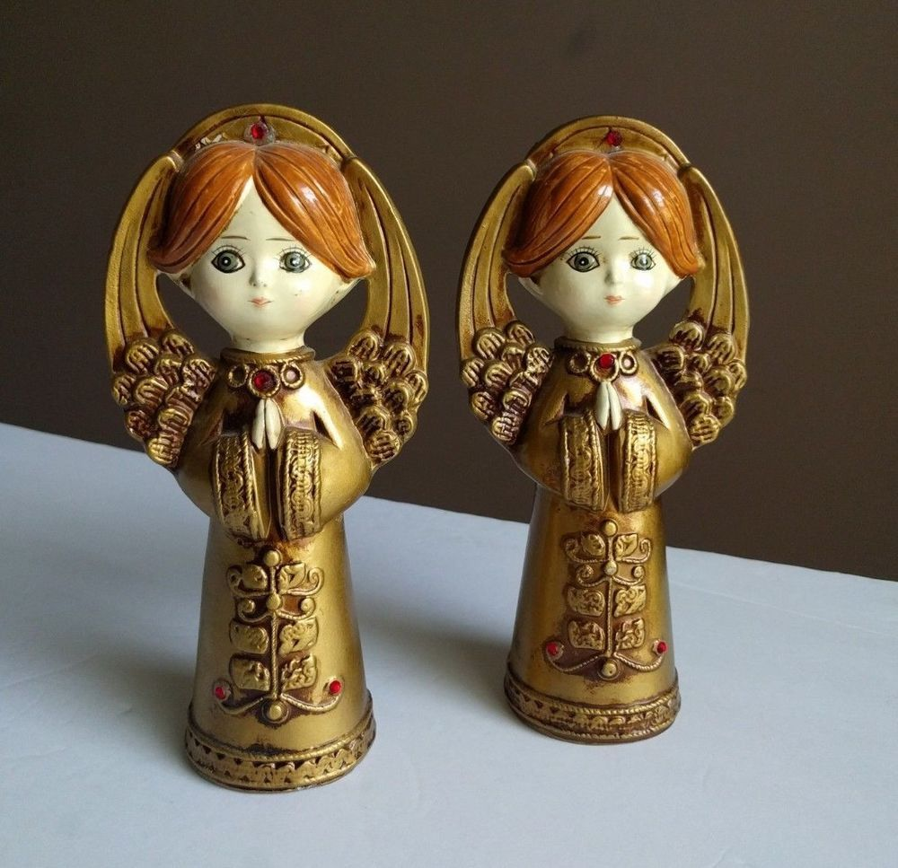 Vtg Mid Century Japan Hand Painted Christmas Angels Gold Statues