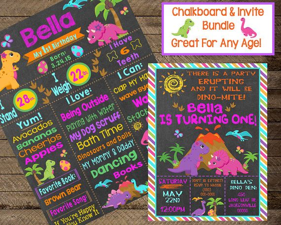 Dinosaur Birthday Chalkboard Invite By InJOYPrints First Party Dig