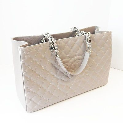 4a223247f7ad CHANEL Gray Caviar Quilted Leather CC SHW XL Grand Shopper Tote, Carried  Once