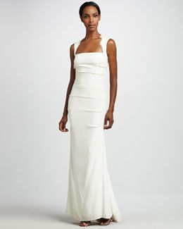 T59J1 Nicole Miller Square-Neck Gown