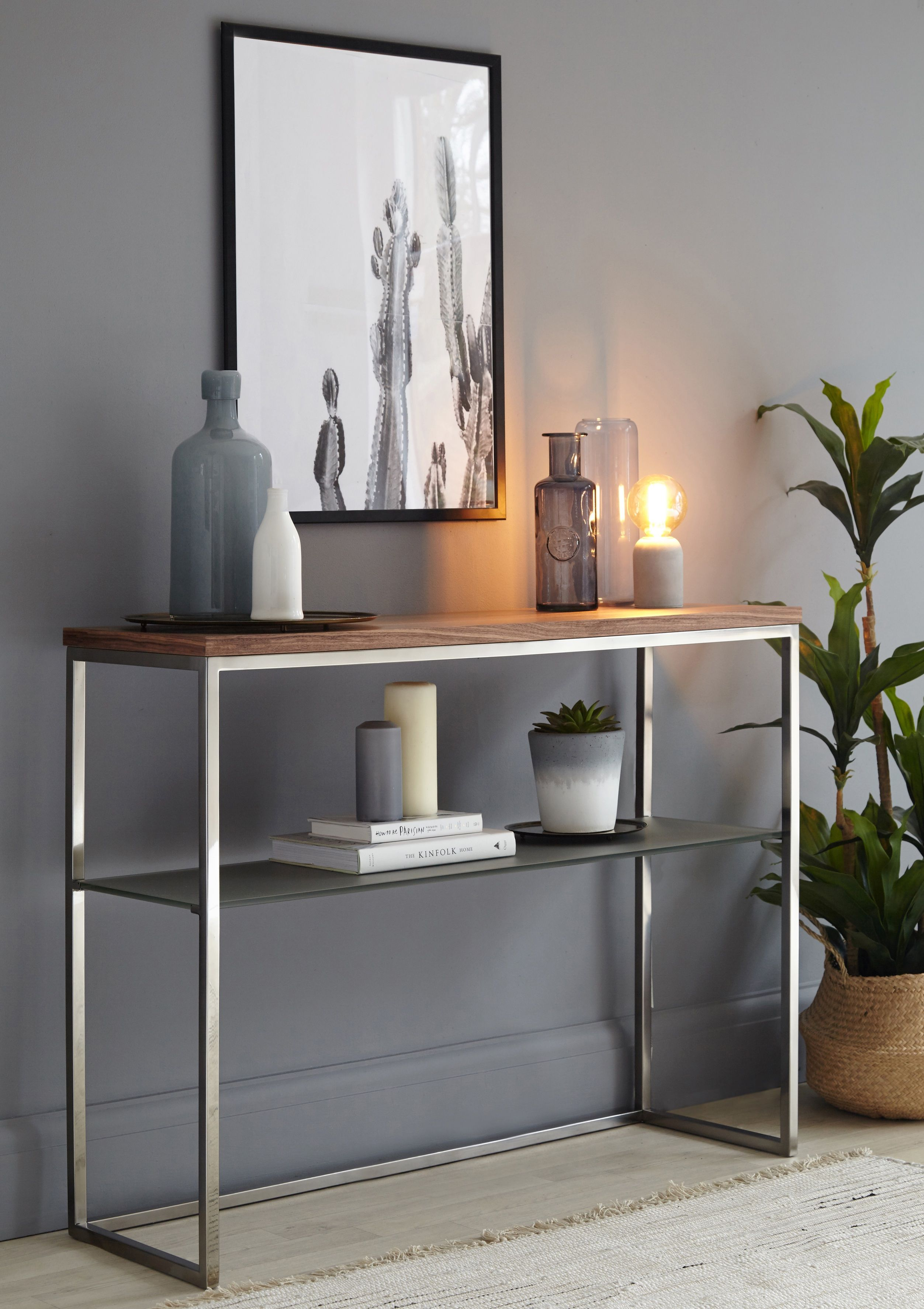 Walnut Black Chrome And Grey Frosted Gl Console Table Sleek Metal Frame Solid Sy Perfect For Any Room In Your Home