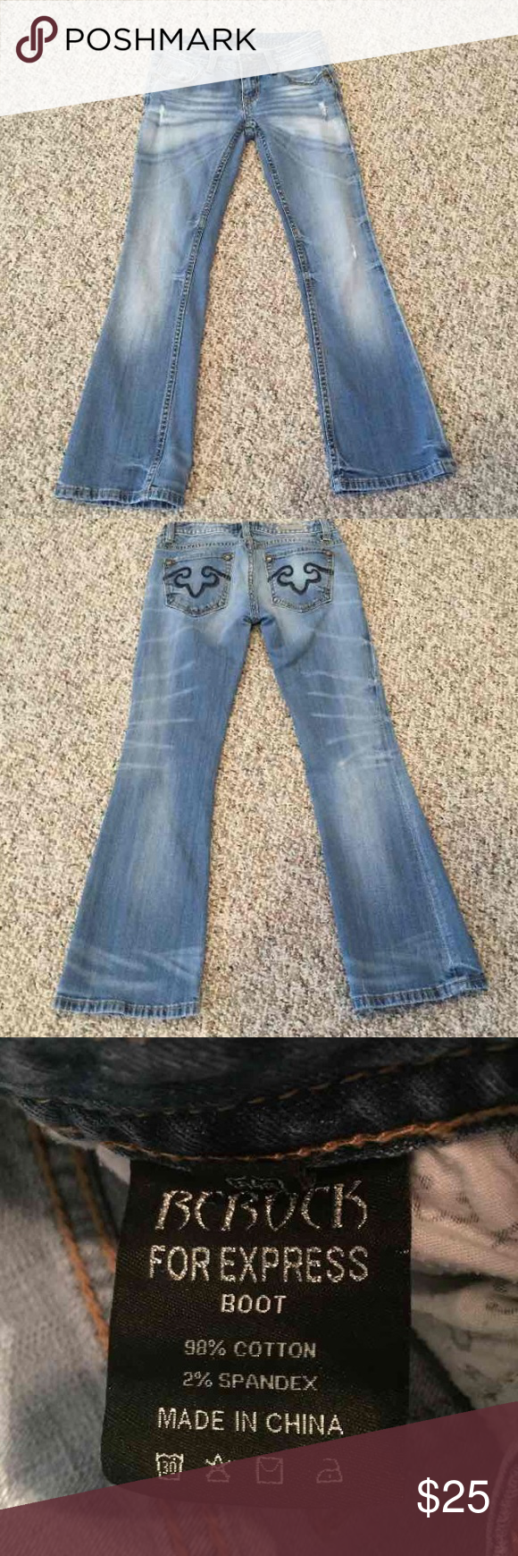 "LN REROCK for Express Bootcut Jeans 0S 0 Short Like new, REROCK for Express Bootcut Jeans size 0 Short. 98% cotton, 2% Spandex. 28"" inseam. Express Jeans Boot Cut"
