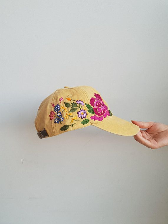 a5bc3e2d7dfcad Hand Embroidered Hat / Custom embroidered hat / Floral embroidered hat / E  mbroideredBaseball caps /