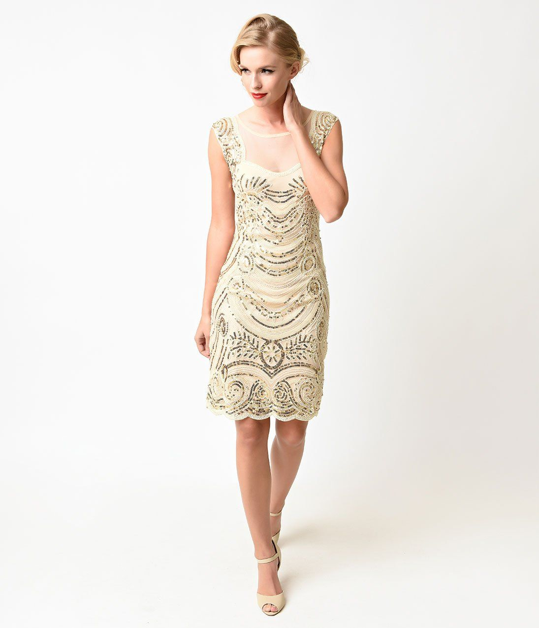 S style cream u gold beaded deco illusion short flapper dress in