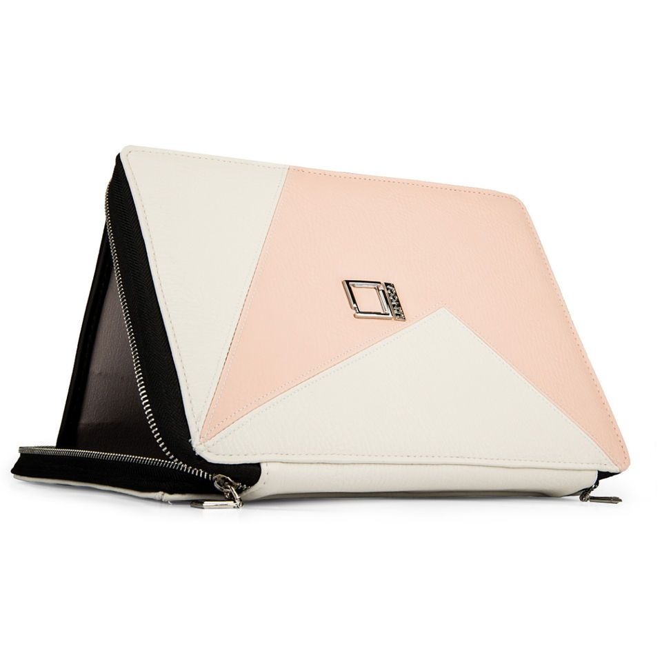 Lencca Minky White / Blush Leather Universal Tablet Portfolio Stand Case Cover US $75.00  See item description: http://goo.gl/fvA1tq